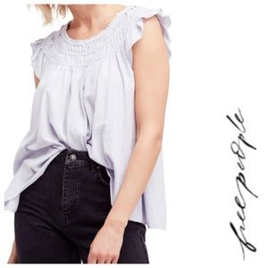 FREE PEOPLE We The Free Coconut Gathered Tee Top